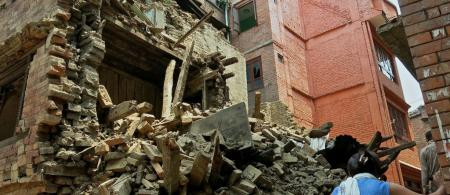 Aftermath of the 2015 Nepal earthquake.