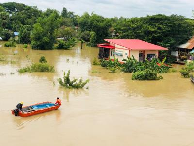 Flooding in Ubon Ratchathani, Northern Thailand in September 2019