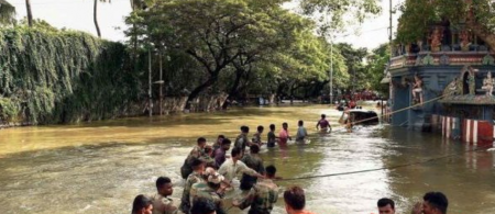 From page 9 of the study: NDRF officers working with residents to rescue people during the flooding. Source: http://www.thehindu.com, 4 Dec 2015.